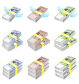 Different styles of korea paper money sets vector