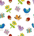 Seamless pattern with birds and butterflies vector