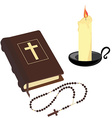 Bible rosary beads and candle vector