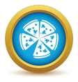 Gold pizza icon vector