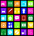 Hobby colorful icons on black background vector