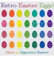 Bright retro happy easter egg set in format vector