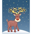 Christmas card with happy reindeer vector