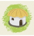 Drawing african hut on background vector