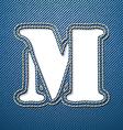 Denim jeans letter m vector