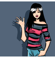 Smiling teenager fashionable girl brunette vector
