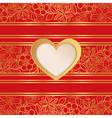Valentines day greeting card red background vector