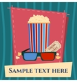 Popcorn box 3d glasses and ticket cinema poster in vector