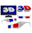 3d sign glasses and tv vector