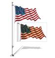 Flag pole us flag wwi wwii 48 stars vector