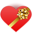 Gift heart with bow top view vector