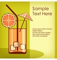 Cocktail in glass on green vector