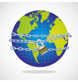 Conceptual world with chain and padlock isolated o vector