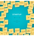 Start up concept template with post it notes vector