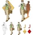Jack of diamonds boy with a gun mafia card set vector