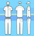 Simple outline drawing of a shirt pants and cap vector