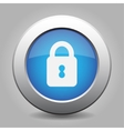 Blue metal button with closed padlock vector
