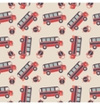 Seamless pattern of buses and alarms vector