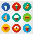 Flat fast food icons vector