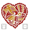 Indian pattern of bird in the shape of heart vector