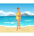 Beach girl summer background vector