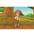 A boy near the roots of a giant tree vector