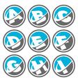 Swoosh alphabet icons set 1 vector