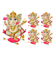 Ganesh in 5 different colors vector