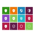 Shield icons on color background vector