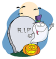Ghost waving from pumpkin near tombstone vector