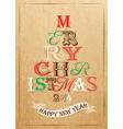 Poster tree christmas happy kraft color vector