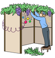 Jewish guy builds sukkah for sukkot vector
