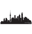 Shanghai china skyline detailed silhouette vector