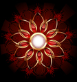 Round banner with abstract flower vector