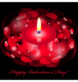 Happy valentines day card with red candle vector
