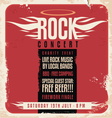 Rock concert retro poster design vector