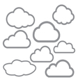 8 outline stroke clouds icons vector