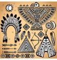 Vintage set of native american symbols vector