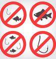 No fishing icons vector