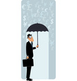 British businessman under umbrella vector
