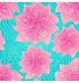 Ornate violet flowers on lacy blue background vector