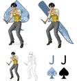 Jack of spades asian brawling man mafia card set vector