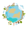 Cute of planet with houses trees buildings made in vector