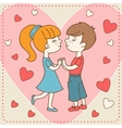 Vintage valentines day card of boy kisses girl vector