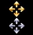 Symbols arrows of gold and silver vector