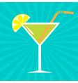 Cocktail in martini glass sunburst background vector