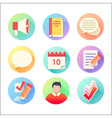 Flat trendy education colorful icons set vector