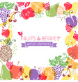 Background of fruits and berries on white vector