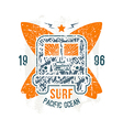 Surfing bus emblem vector
