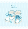 Blue booties for newborn baby shower card vector